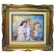 Sandra Kuck MEMORIES Signed Framed Print on Porcelain Plaque Painting Franklin Mint