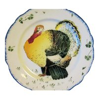 Antique French Faience Luneville TURKEY Plate Les Coqs K & G