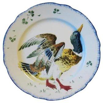 Antique French Faience Luneville Mallard Duck Plate Les Coqs K & G