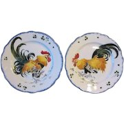 Antique French Faience Luneville Pair Rooster Plates Les Coqs K & G Fighting Cocks