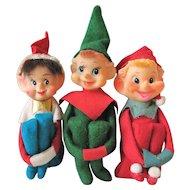 Set of 3 Vintage Christmas Knee Hugger Elf Elves Pixies