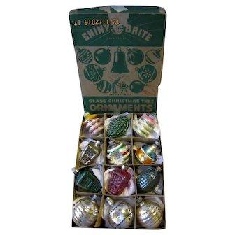 Box 12 Vintage Shiny Brite Glass Christmas Ornaments Shapes Bumpy Indents Lanterns