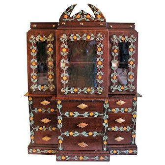 Vintage Folk Art Wood Jewelry Box Chest Display Cabinet  24""