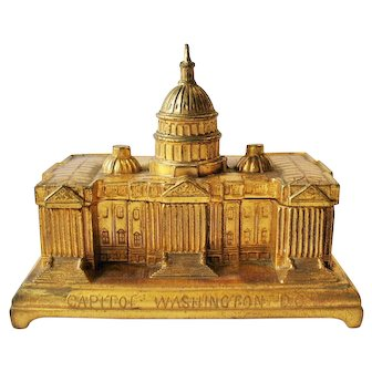 Vintage Jennings Brothers Capitol Building Jewelry Dresser Box