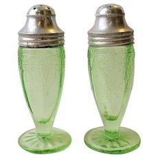 Depression Glass Cameo Ballerina Green Salt & Pepper Shakers