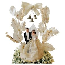 Vintage Wedding Cake Topper Bride & Groom Bell Netting Flowers 1940's