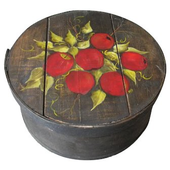 """Old Large Painted Wood  Pantry Cheese Box 16"""" Apples"""