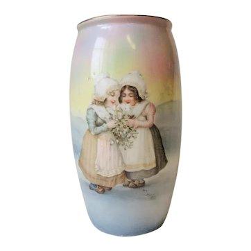 "Royal Bayreuth Vase Dutch Girls Scene Pastels 7"""