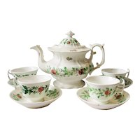 Staffordshire Stick Spatter Strawberries  Teapot Cups Saucer Tea  Set