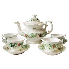 Staffordshire Soft Paste Strawberries  Teapot Cups Saucer Tea  Set