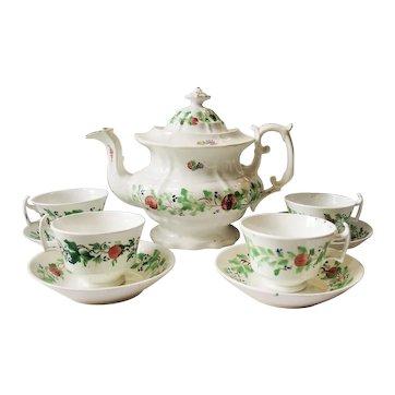 Staffordshire Stick Spatter Strawberries  Teapot Cups Saucer Tea  Set