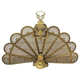 Vintage Brass Peacock Folding Fan Fireplace Screen Cameo