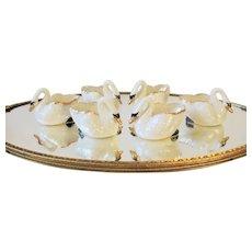 Set of 6 White & Gold Porcelain Swan Open Salt Cellars
