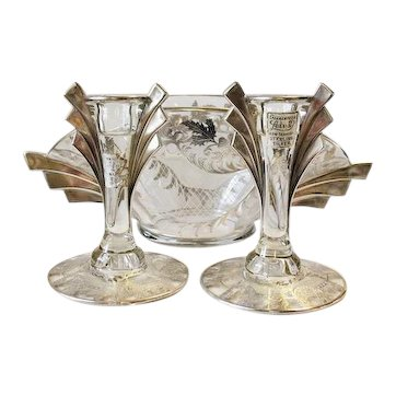 Lotus Glass Sterling Silver Overlay ART DECO Bowl & Candlesticks Console Set