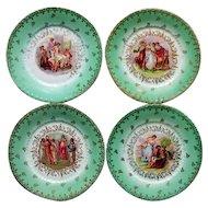 """Set of 4 Antique Victoria Austria Cabinet Plates Women Scenes 8 1/2"""" Signed"""