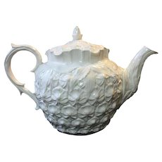 Vintage Spode Imperial Fancies Teapot All White Embossed Pineapple Design
