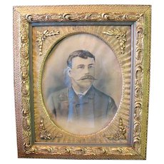 Large Ornate  Picture Frame Wood Carved Gold Oval Photo Man