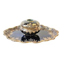 "Nippon Cobalt Blue & Gold Moriage  Florals  12"" Vanity Tray & Hair Receiver"
