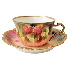 Antique Flambeau Limoges Cup & Saucer Hand Painted Berries Signed