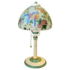 Handel Lamp # 7008 Reverse Painted Boudoir  Birds