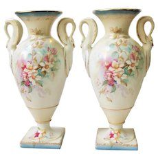 Antique Pair Porcelain Vases Urns Swan Handles RS Suhl Germany 10""