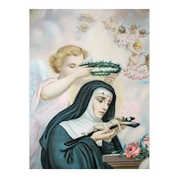 Large Vintage  St. Rita Tin Lithograph Religious Print John Duffy, NY Lithographer
