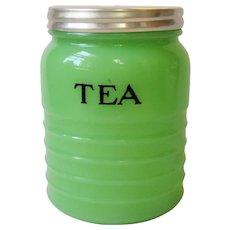 Vintage Jeannette Jadite Jadeite TEA Canister Jar Darker Shade Green