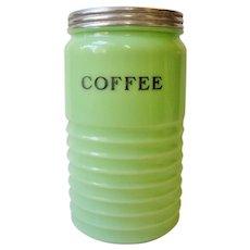 Vintage Jeannette Jadite  Coffee Canister Jar  Green Glass