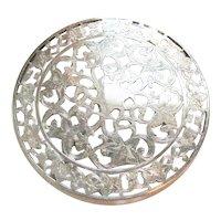"""Vintage Sterling Silver Glass Overlay Trivet Coaster 6"""" Webster Floral"""