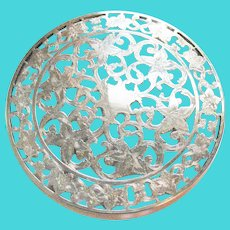 "Vintage Sterling Silver Glass Overlay Trivet Coaster 6"" Webster Floral"