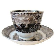 Transferware WASHINGTON VASE Handless Cup & Saucer Podmore Walker Staffordshire