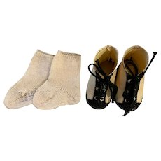 Two Toned Shoes and Socks for Composition or Bisque Dolls