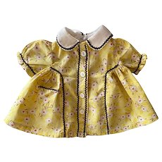 Yellow Print Dress for Composition Dolls Such as Shirley Temple