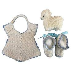 Bib, Booties, Lamb for Baby Dolls 1940