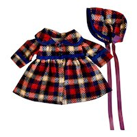 Plaid Flannel Coat and Hat for Composition Dolls