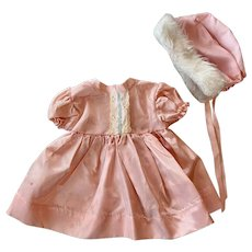 Darling Pink Taffeta Dress and Bonnet with Faux Fur 1950s