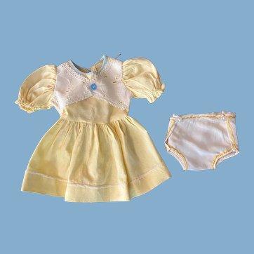 Yellow Pique Dress for Hard Plastic Dolls 1950s