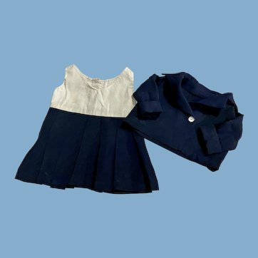 Two Piece Navy Blue Pleated Suit for Composition Dolls 1930s