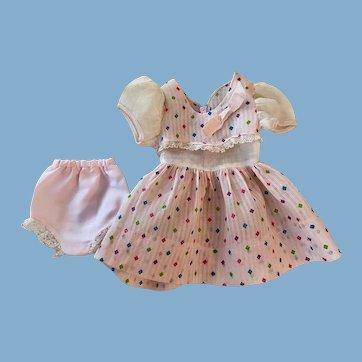 Pink Dimity Dress for Hard Plastic Dolls 1950s