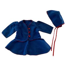 Blue Fleece Outfit and Bonnet Patsy Ann and Friends