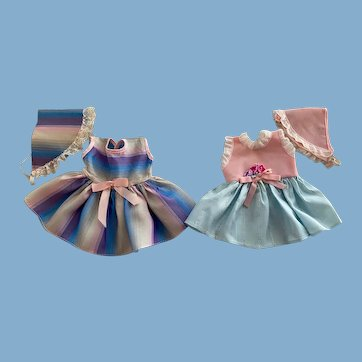 Two Dresses and Bonnets for American Character Tiny Tears and Friends