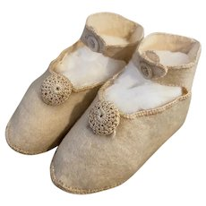 Antique Wool Felt Shoes for Bisque Dolls
