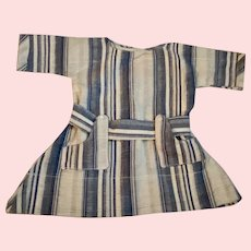 Blue and White Striped Dress for Bisque and Composition Dolls