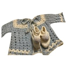 Sweater and Booties for Big Baby Dolls 1930s