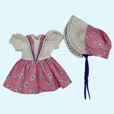 Dress and Matching Bonnet for Composition Dolls 1930s