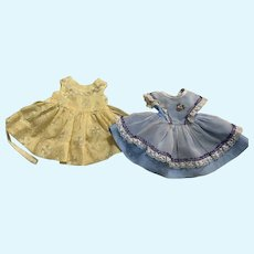 Two Darling Dresses for Hard Plastic Dolls 1950s