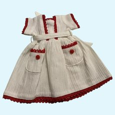 White Dress with Red Trim for Composition and Bisque Dolls