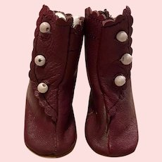 Leather Burgundy Doll Shoes for Bisque and Composition