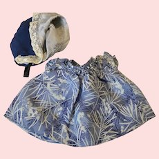 Navy Print Crepe Doll Dress and Bonnet1930s