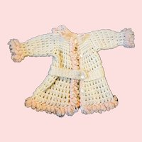 Lovely Pink and Cream Sweater Coat for Bisque Dolls 1910